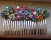 Formal Christal Flowered Hair Comb Accessory
