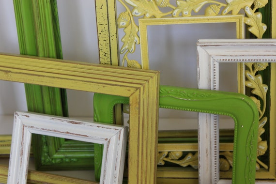 Shabby Chic Distressed  Spring Green Gold and White French Wedding Wall Gallery Wall Decor
