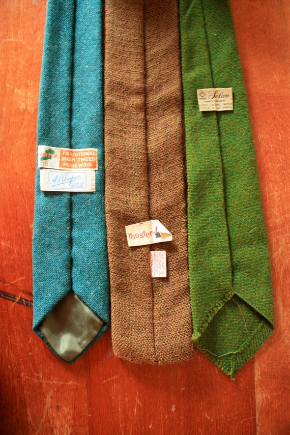 Vintage Fabric Wool Neck Tie Trio - Olive Green, Brown, and Teal Set of 3