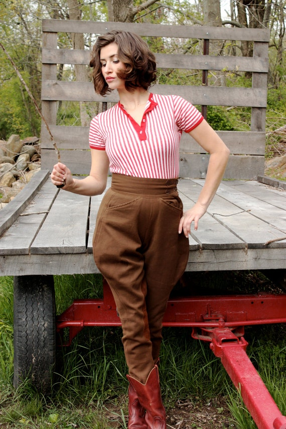 Vintage 1940's Equestrian Cocoa Brown Riding Pants