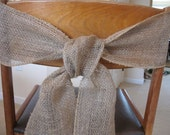 burlap chair sash tie wedding bow ribbon wreath reception wreath natural country rustic woodland engagement party bridal shower