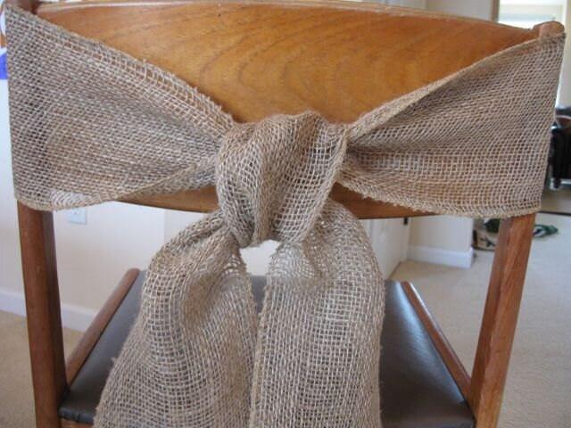 Burlap Chair Sash Tie Wedding Bow Ribbon Wreath Reception