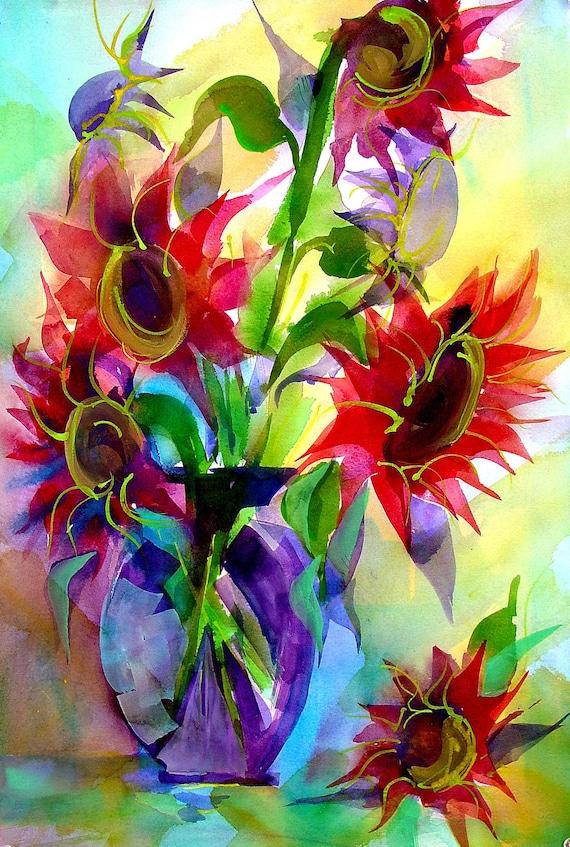 "Red Sunflowers in Blue Vase 8.5"" x 11"" Archival Digital Print"