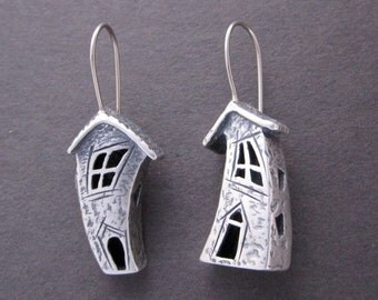 Crooked house earrings, Fairy house Sterling w 14k wires handmade in USA