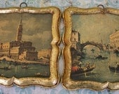 Vintage Made In Italy wall plaques city of Venice Italy gold framed