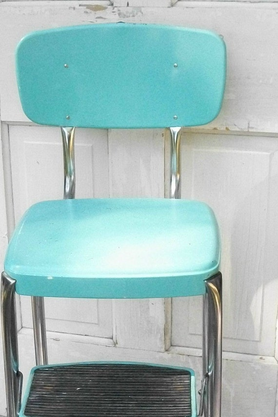 Vintage Turquoise And Chrome Cosco Like Chair With Step Stool