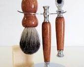 Hand-turned santos mahogany wood shaving set - razor, stand & badger hair brush