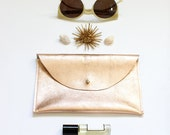Peach Metallic Leather Pouch or Clutch