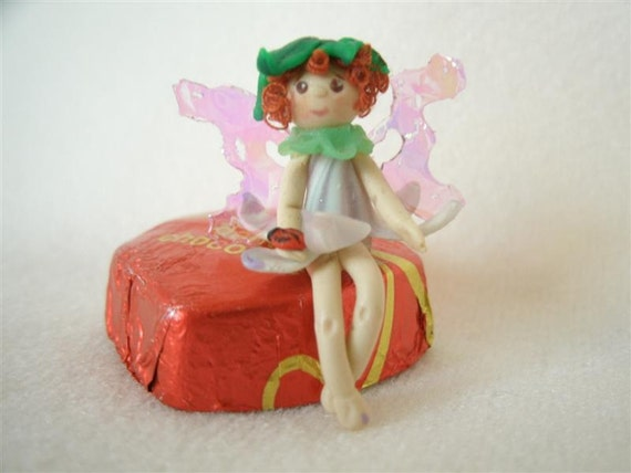 "OOAK micro mini polymer clay flower fairy - less than 1 1/4"" tall"