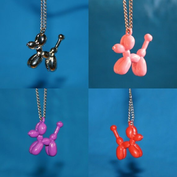 Balloon Dog Necklace by Balloongenuity-- Your Choice of Color Red Pink Purple Lime Green Pale Blue Shiny Silver Balloon Animal Jewelry