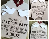 Save the Date Tags - 3D Love Birds - Eco-Friendly - Rustic - Recycled Paper - SAMPLE