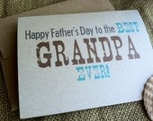 Father's Day - BEST GRANDPA EVER - Father - Dad - Papa - Notecard - Recycled - Eco Friendly - Custom