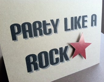 Party like a ROCKSTAR - Birthday - Recycled Brown Kraft Paper - Note Card