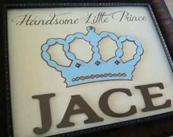 Handsome Little Prince - CUSTOM - 3D Wall Art - Nursery - Name - Baby Boy