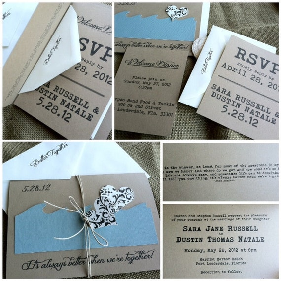 Wedding Invitations - Better Together - Beach - Rustic - Recycled Kraft - Destination - Custom Colors - Twine - Heart Tag - Sample