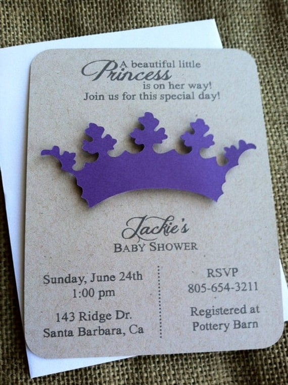 princess tiara crown invitation 3d baby shower, Baby shower invitations
