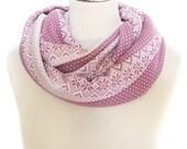 Jersey Knit Infinity Scarf Necklace, ivory blush pink, chunky snowflake winter circular circle scarf loop tube
