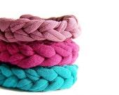 ONE Jersey Knit Bracelet, turquoise aqua teal t shirt crochet cuff friendship bracelet