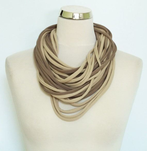 Cotton Tshirt Scarf Necklace Cappucino Beige Ivory , infinity scarf necklace