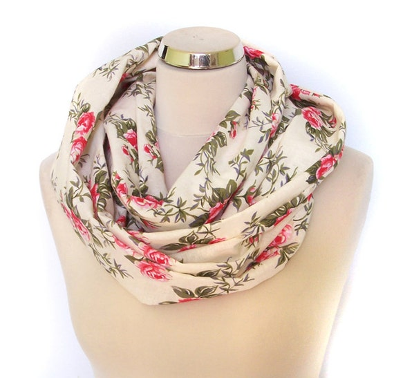 Cotton Fabric Circle  Infinity Scarf Necklace, ivory floral roses circular scarf loop tube