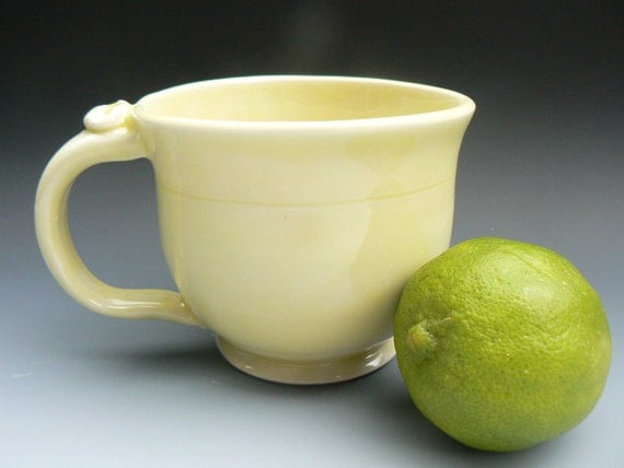 Sunshine Yellow Latte coffee mug or cup porcelain