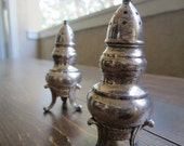 Old Silverplate Salt and Pepper Shakers - Cottage, Shabby Chic, Victorian Looking