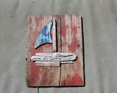 Red, White, and Blue Sail Boat Wall Hanging Made From Drift Wood