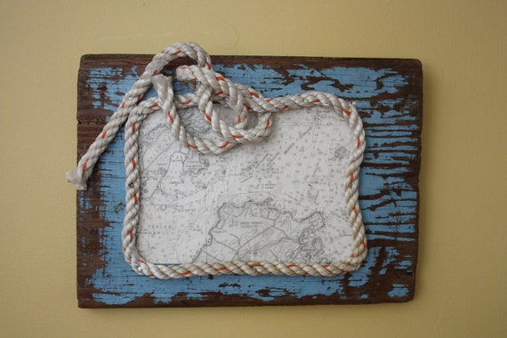 Driftwood Wall Hanging With Salem Sound Map and Rope