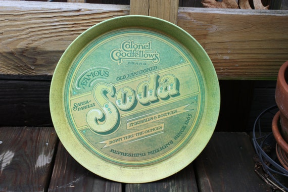 PRICE CUT-Vintage 1979 Colonel Goodfellows Soda Round Serving Tray Great Condition