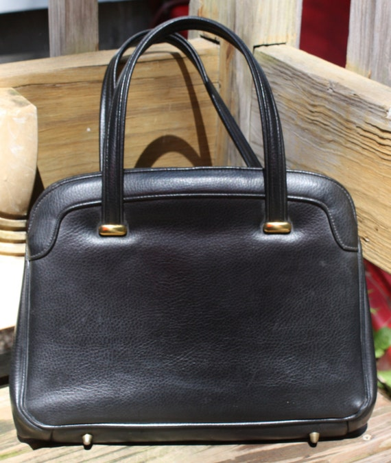 PRICE CUT-  Vintage 1950's Kadin Black Purse With Gold Fasteners-Mint Condition, Must see