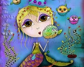 "Title: ""Whispers of the Soul"" - Inspirational colorful Giclee Art Print.  FREE SHIPPING - Mermaid Blowfish Bubbles"
