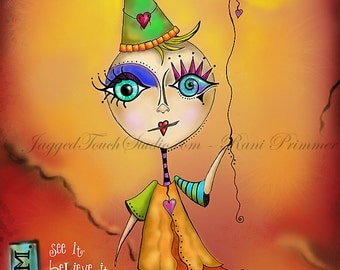 "Title: ""Dream - The World is Ready for You."" Inspirational colorful Giclee Art Print."