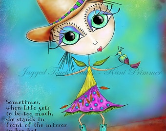 "Title: ""Cowgirl UP"". Inspirational and colorful Giclee Art Print. 8.25x10.75"