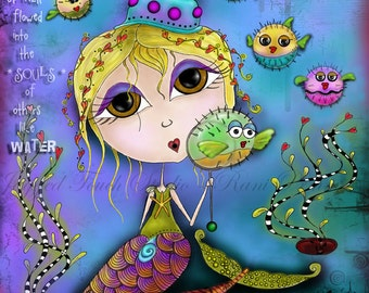 "Title: ""Whispers of the Soul"" - Inspirational colorful Giclee Art Print.  Mermaid Blowfish Bubbles"