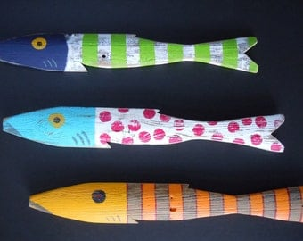 Set of 3 Whimsical Picket Fish Art Hand Painted Reclaimed Wood Beach Cottage Cabin Decor