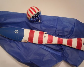 Patriotic Red White & Blue Hand Painted Fish Art Reclaimed Wood Beach Cottage 4th of July USA