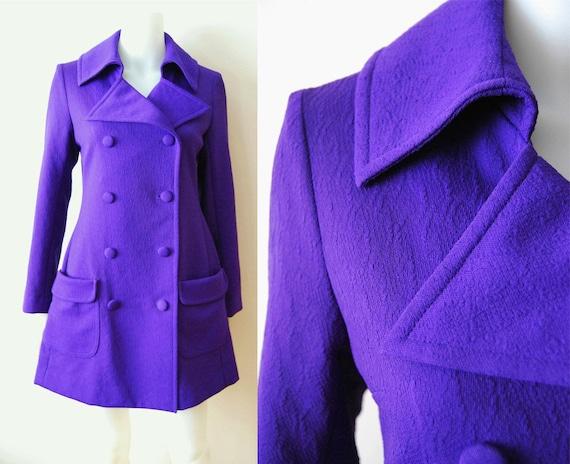 The Royal - Vintage 60s Royal Purple Mod Swing Car Coat