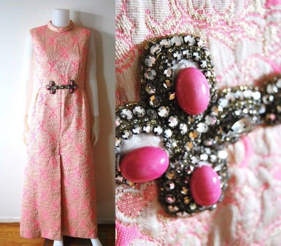 The Parfait Dress - Vintage 70s Pink Brocade Maxi Dress Rhinestone Deco Accent