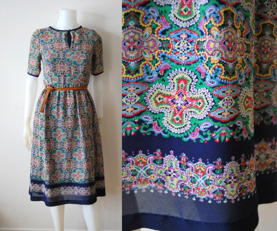 The Wendy Dress - Vintage 70s Paisley Print Summer Party Dress