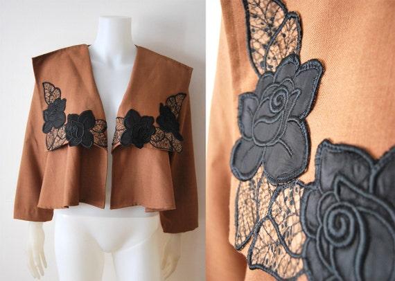 The Harper Jacket - Vintage 40s Brown Flared Flower Applique Jacket Coat Bolero