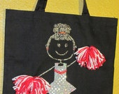 Sparkle Cheerleader Canvas Tote Bag  FREE SHIPPING