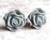 Grey Rose Earrings, Medium Sized Roses, Surgical Steel Posts, Hypo Allergenic