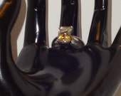 Emerald Cut Yellow Labradorite Sterling Silver Ring Size 8...SRAJD
