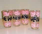 Retro Pink and Black Blossom Glass Tumblers