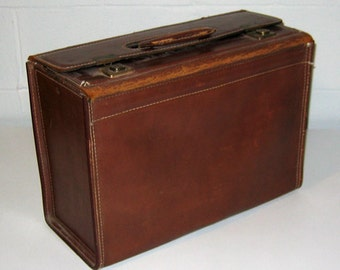 Vintage Brown Leather Valise