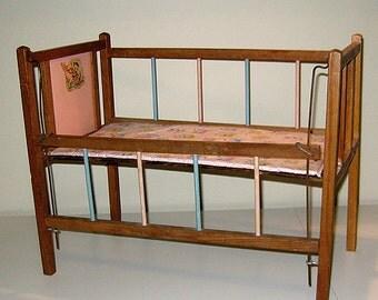 Vintage 1950s Doll Crib with Original Mattress & Fiddling Kitty Decal