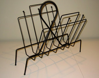 Vintage Black Metal Spoke & Ball Magazine Rack