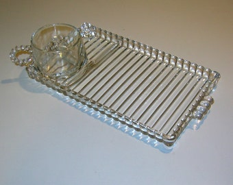 Vintage 1950s Berwick (also called Boopie) Pattern Glass Snack Set by the Anchor Hocking Glass Corp