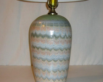 1970s Marbelized Teal Glazed Stoneware Table Lamp