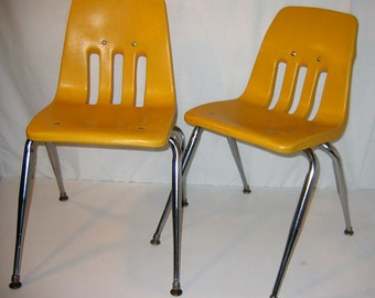 Vintage Virco Kid's Chairs in Squash Yellow & Chrome, Set of Two